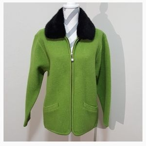 Lisa International Green Wool Zip Up Cardigan